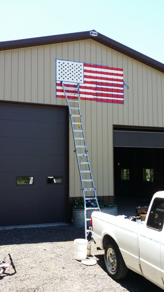 american flag painting on barn
