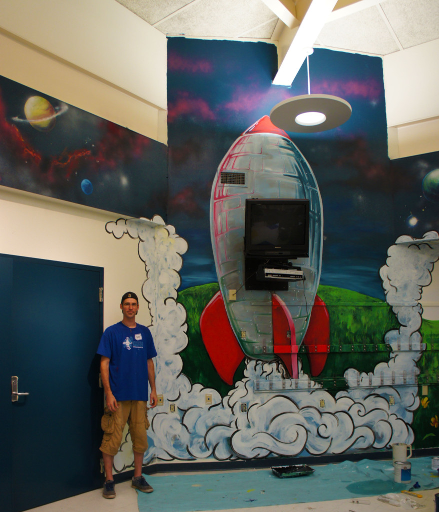 space rocket mural painter